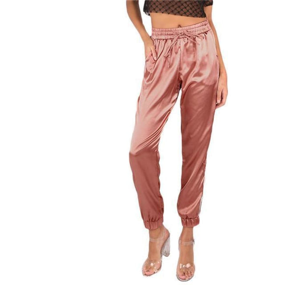 Marie Klammer Satin Trousers Pink / XS Bottoms Clothing Type_Pants New Trends Pants Season_Fall Season_Summer