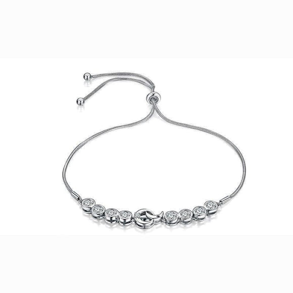 Moon And Star Adjustable Bracelet Jewelry 2019 Bracelet Gemstone Jewelry Type_Sterling Silver Bracelets New Silver Jewelry