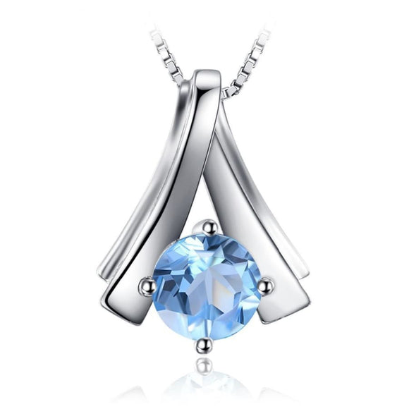 Natural Blue Topaz Pendant Sky Blue Jewelry 2019 Gemstone Jewelry Type_Pendants & Necklaces New Silver Jewelry New Trends