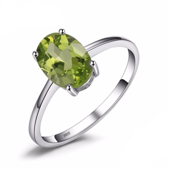 Natural Green Peridot Solitaire Oval Ring 6 / Green Jewelry 2019 Gemstone Jewelry Type_Sterling Silver Rings New Silver Jewelry New Trends
