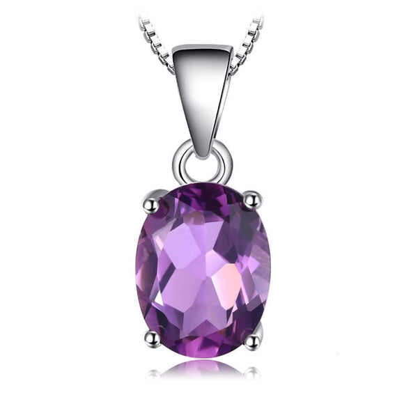 Natural Oval Cut Amethyst Pendant Jewelry 2019 Gemstone Jewelry Type_Pendants & Necklaces New Silver Jewelry New Trends