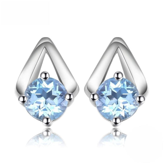 Natural Sky Blue Topaz Halo Stud Earrings Jewelry 2019 Earrings Gemstone Jewelry Type_Sterling Silver Earrings New Silver Jewelry
