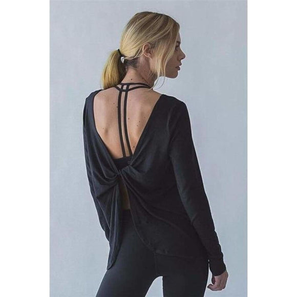 Ornella Twist Back Yoga Shirt Black / S Fitness Fitness wear Fitness_Tops New Trends Season_Fall Top