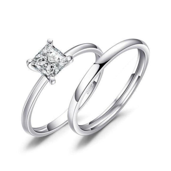 Princess Cut CZ Solitaire Ring Set Jewelry 2019 Gemstone Jewelry Type_Sterling Silver Rings Jewelry Type_Sterling Silver Sets New Silver