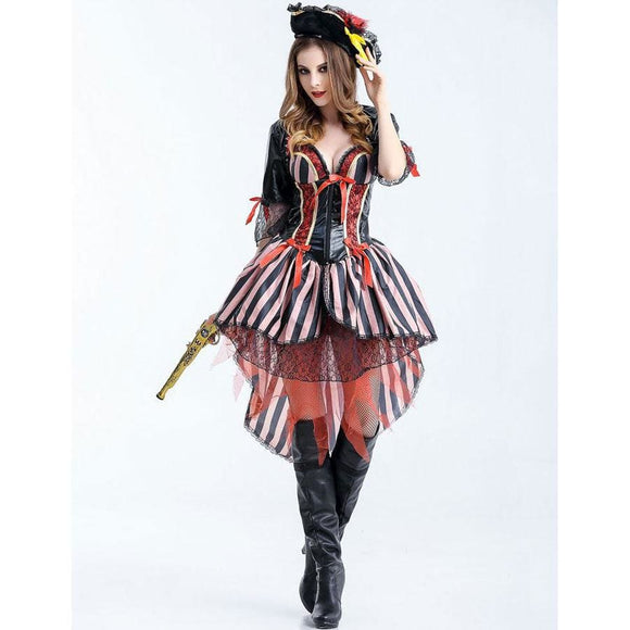 Red Gold Pirate Costume Costume 2019 Clothing Type_Halloween Costumes Costume New Trends Trends 2019