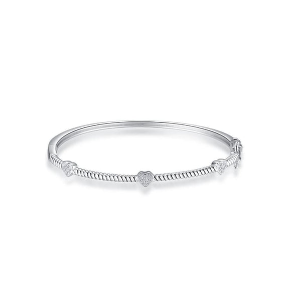 Sterling Silver Cubic ZirconiaLOVE Cuff Bangle