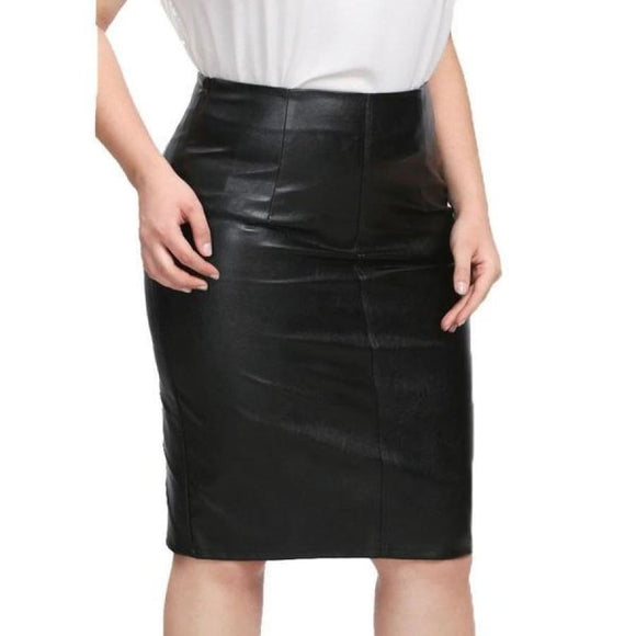 Rosemary Leather Pencil Skirt 0Xl / Black Bottoms Clothing Type_Skirts New Trends Plus Size Season_Fall Season_Summer