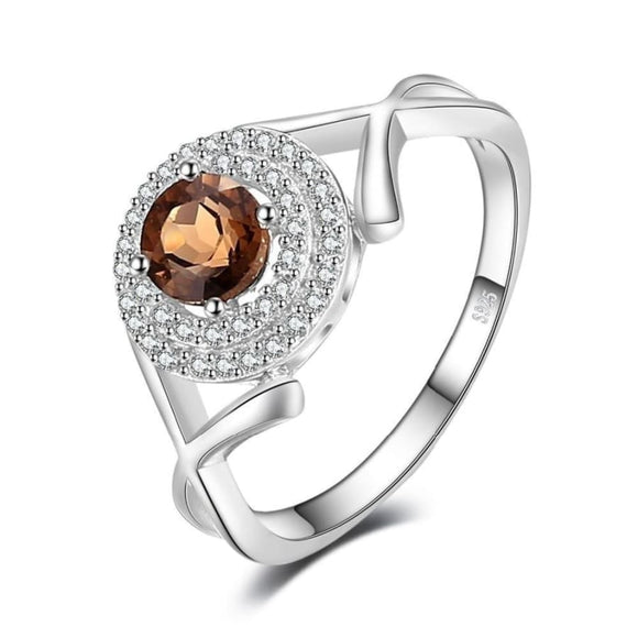 Round-Cut Natural Smoky Quartz Ring 6 / Taupe Jewelry 2019 Gemstone Jewelry Type_Sterling Silver Rings New Silver Jewelry New Trends