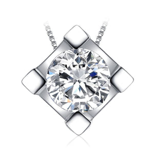 Round CZ Solitaire Pendant Jewelry 2019 Gemstone Jewelry Type_Pendants & Necklaces New Silver Jewelry New Trends