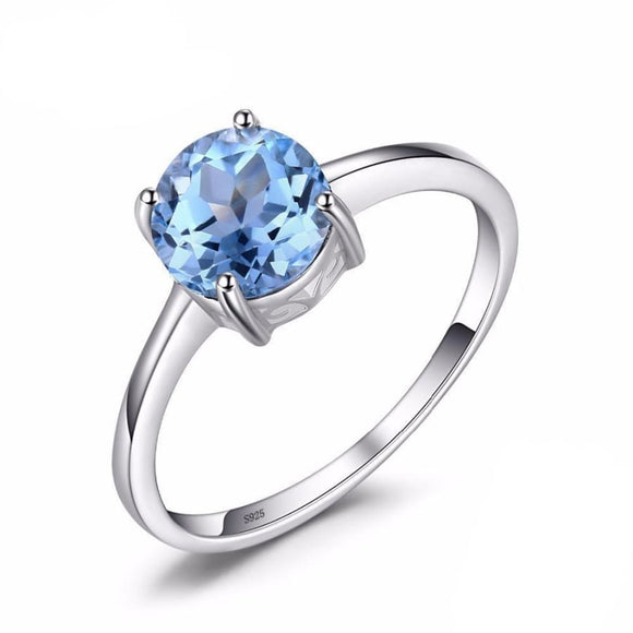 Round Topaz Birthstone Solitaire Ring 6 / Sky Blue Jewelry 2019 Gemstone Jewelry Type_Sterling Silver Rings New Silver Jewelry New Trends