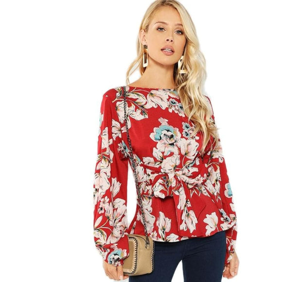Sandra Burgundy Knot Front Blouse Tops Clothing Type_Tops & Blouses New Trends Season_Fall Top Trends 2019