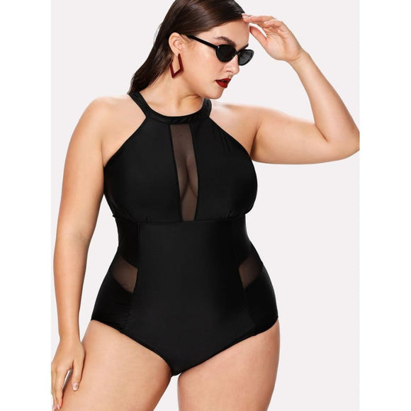 Serena Mesh One Piece Swimsuit Black / XL Swimsuit 2019 Clothing Type_One Piece Swimsuit New Trends One Pieces & Monokinis Plus Size