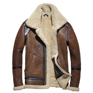 Slim Shearling Jacket Brown / M Men Coat/jacket Mens Gifts_Leather Cots & Jackets New Trends Plus Size Season_Fall