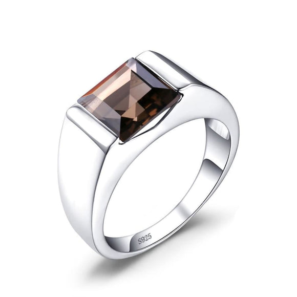Smoky Quartz Silver Ring 10 / Brown Men Mens Gifts_Jewelry & Watches New Trends Ring Trends 2019