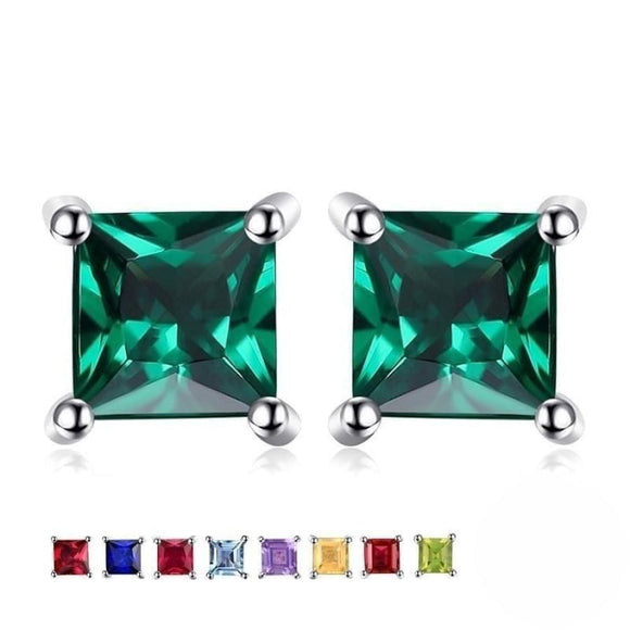 Square Stud Earrings Jewelry 2019 Earrings Gemstone Jewelry Type_Sterling Silver Earrings New Silver Jewelry