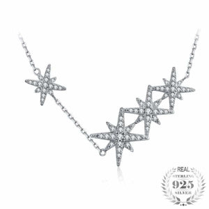 Stars Cluster CZ Pendant Necklace Jewelry 2019 CZ Jewelry Type_Pendants & Necklaces Necklace New