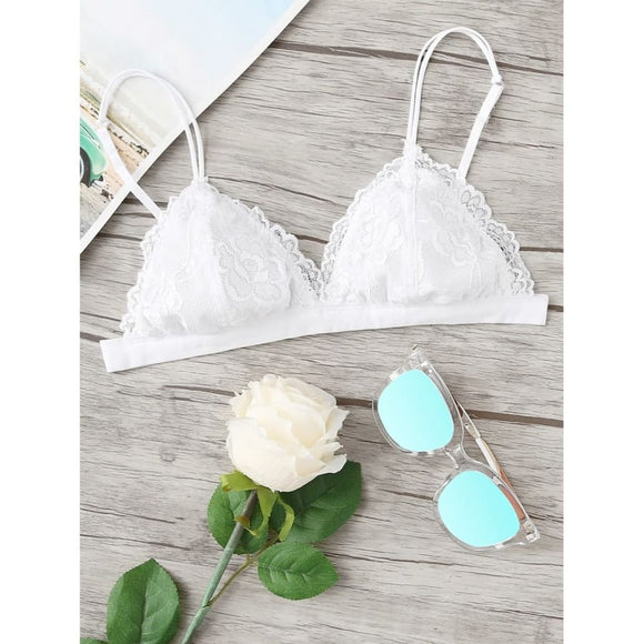 Triangle Floral Lace Bralette S / White Comfy Bralettes Bras Clothing Type_Lingerie New Trends Season_Fall