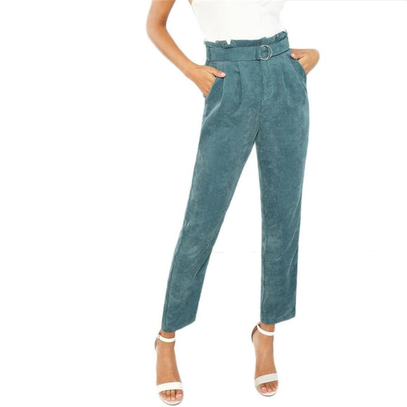 Vanessa Blue Belted Tapered Pants Bottoms Bottom Clothing Type_Pants New Trends Pants Season_Fall