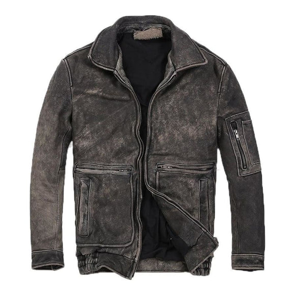Vintage Biker Leather Jacket Men Coat/jacket Mens Gifts_Leather Cots & Jackets New Trends Plus Size Season_Fall
