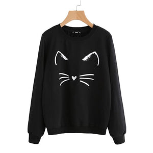Whisker Round Neck Sweatshirt Black / Xs Tops Clothing Type_Tops & Blouses New Trends Season_Fall Top Trends 2019