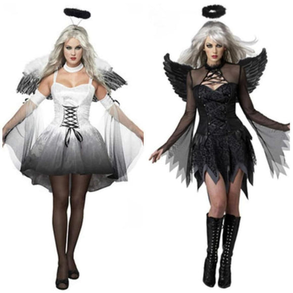 White Black Fallen Angel Costume Costume Clothing Type_Halloween Costumes Costume New Trends Trends 2019
