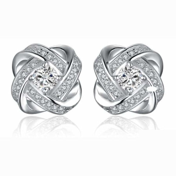 Windmill Intertwined CZ Stud Earrings White Jewelry 2019 CZ Earrings Jewelry Type_Sterling Silver Earrings New Silver Jewelry