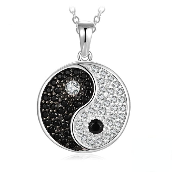 Yin Yang Spinel Pave Pendant Jewelry 2019 Gemstone Jewelry Type_Pendants & Necklaces New New Silver Jewelry
