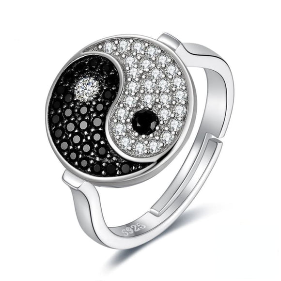 Yin Yang Spinel Silver Ring Jewelry 2019 Gemstone Jewelry Type_Sterling Silver Rings New New Silver Jewelry