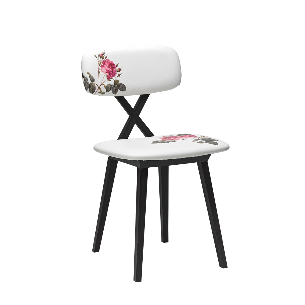 X Chair with Flower Cushion - Set of 2 pieces