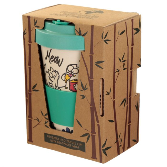 Simon's Cat Reusable Bamboo Travel Mug - Blue Lid
