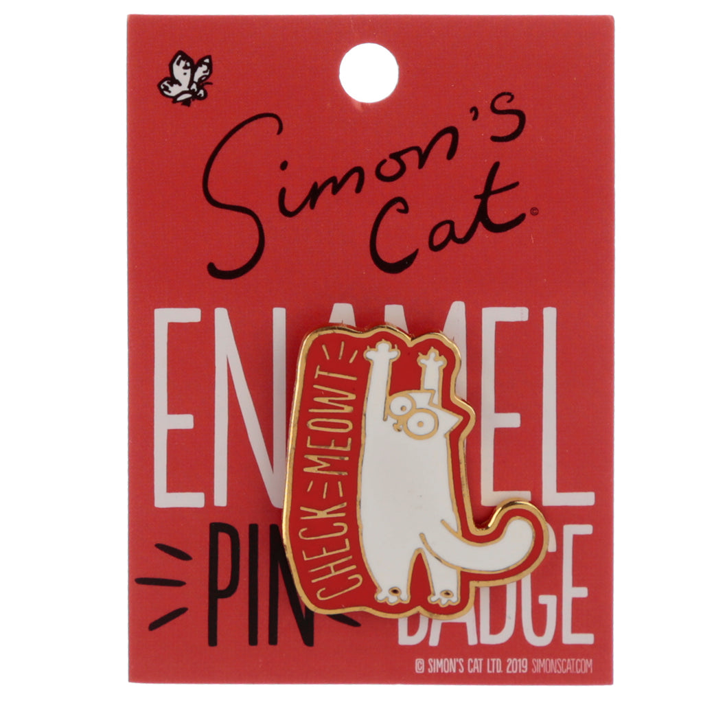 Simon's Cat Collectable Enamel Pin Badge 'Check Meowt' - Simon's Cat Shop
