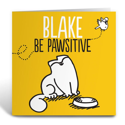 Personalised Be Pawsitive Greeting Card - Simon's Cat Shop