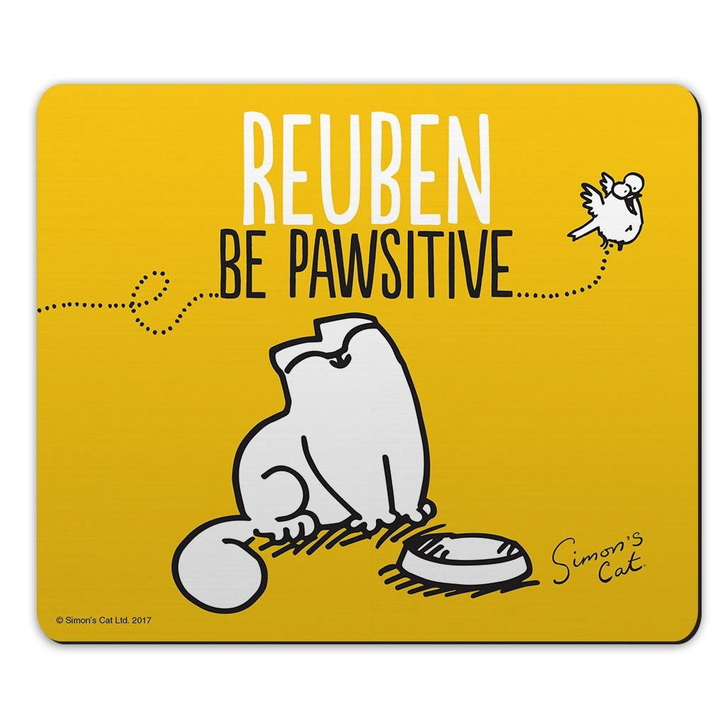 Personalised Be Pawsitive Yellow Mouse Mat - Simon's Cat Shop