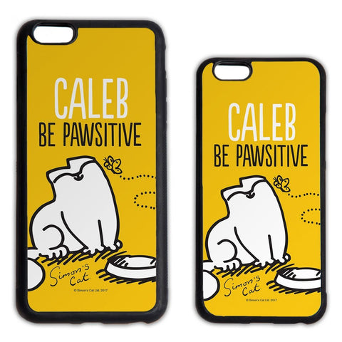 Personalised Be Pawsitive Yellow Phone Case - Simon's Cat Shop