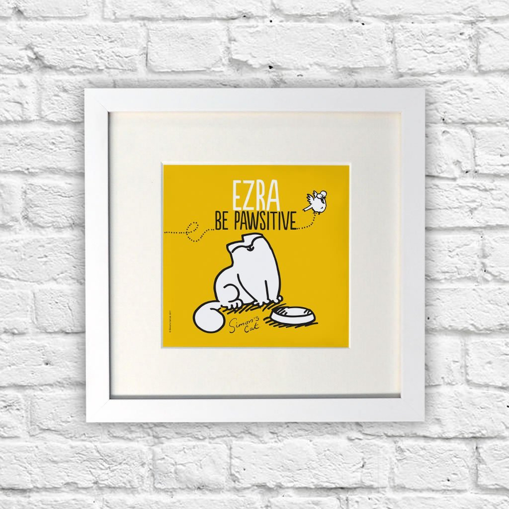 Personalised Be Pawsitive White Framed Print - Simon's Cat Shop