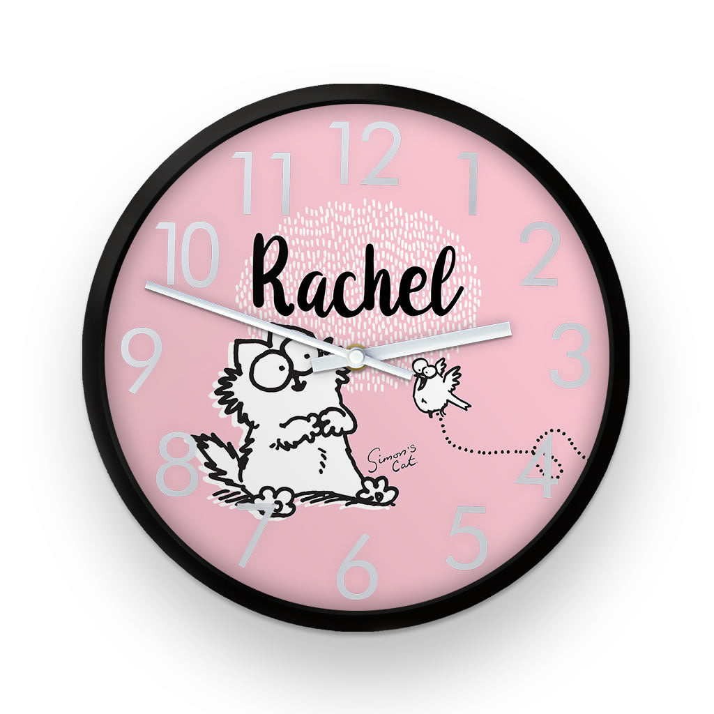 Personalised Pink Simon's Cat Clock - Simon's Cat Shop