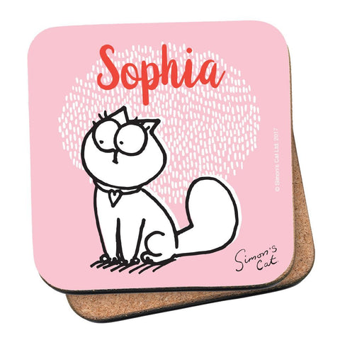 Personalised Pink Coaster - Simon's Cat Shop