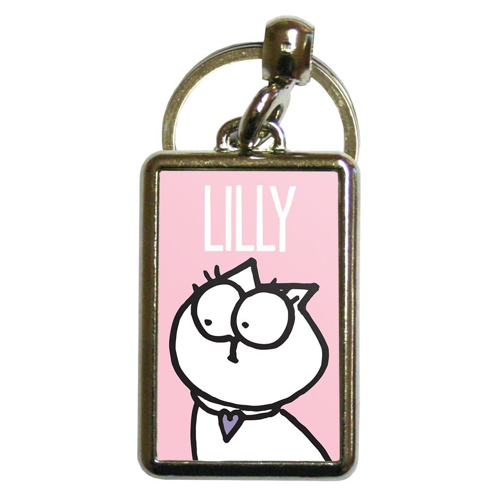 Personalised Pink Metal Keyring - Simon's Cat Shop