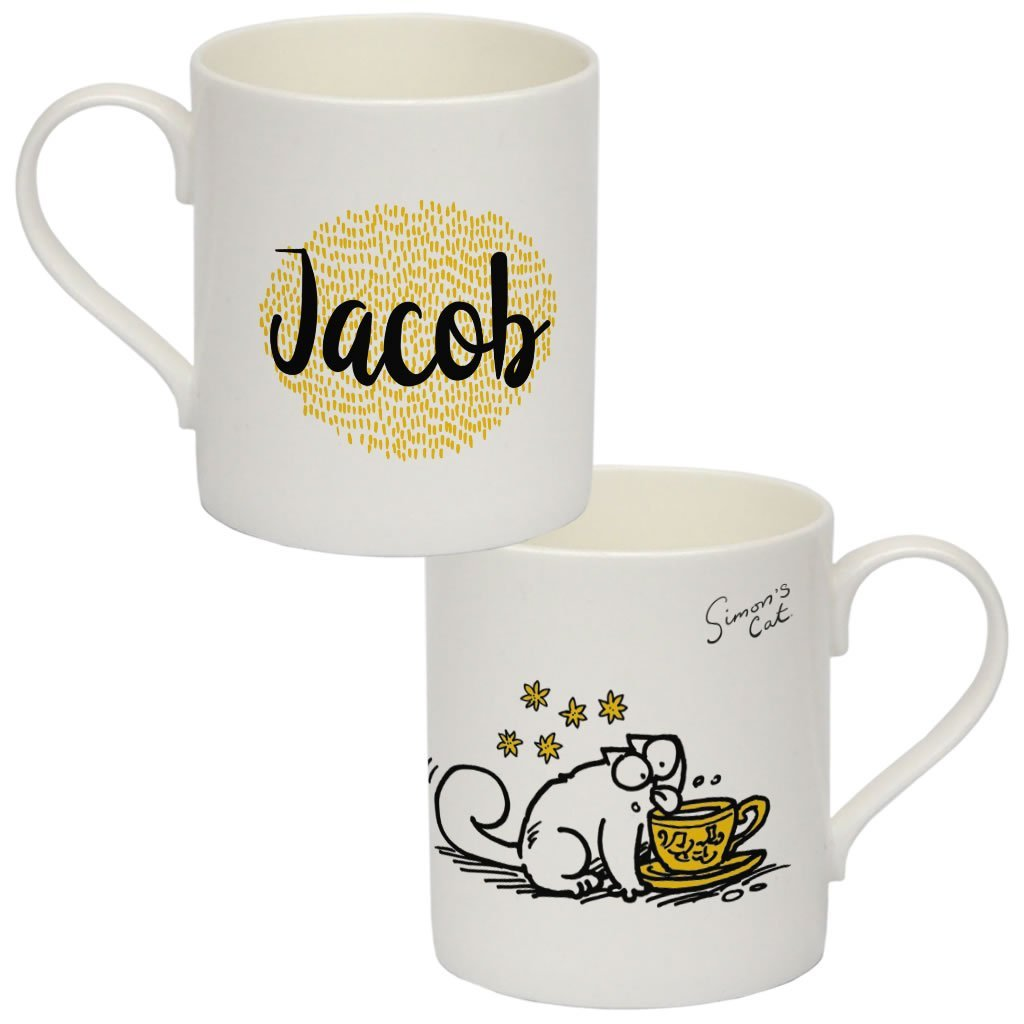 Personalised Thirsty Cat Bone China Mug - Simon's Cat Shop