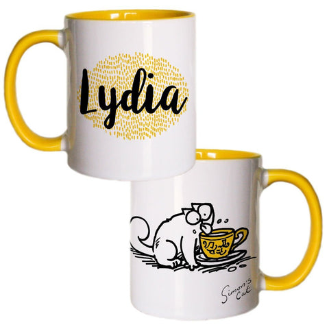Personalised Licking Coloured Insert Mug - Simon's Cat Shop