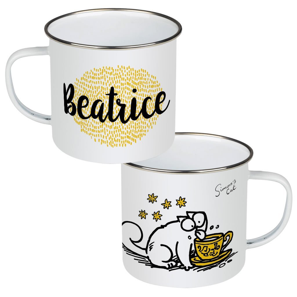 Personalised Licking Enamel Mug - Simon's Cat Shop