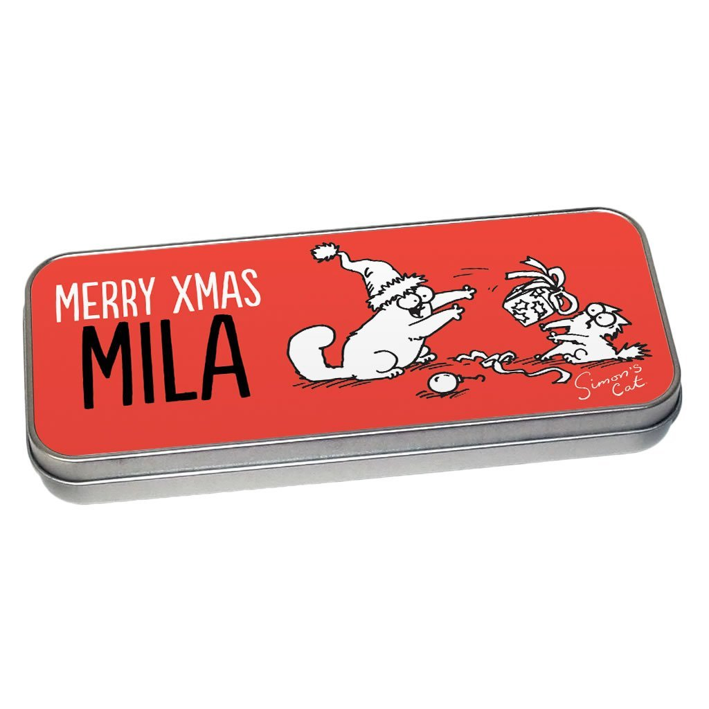 Personalised Merry Xmas Pencil Tin - Simon's Cat Shop