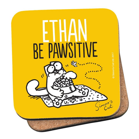 Personalised Be Pawsitive Coaster - Simon's Cat Shop