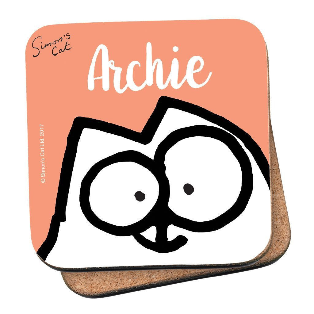 Personalised Peach Coaster - Simon's Cat Shop