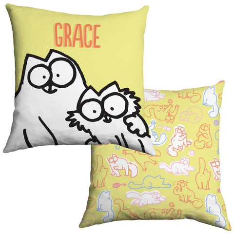 Personalised Yellow Cushion - Simon's Cat Shop