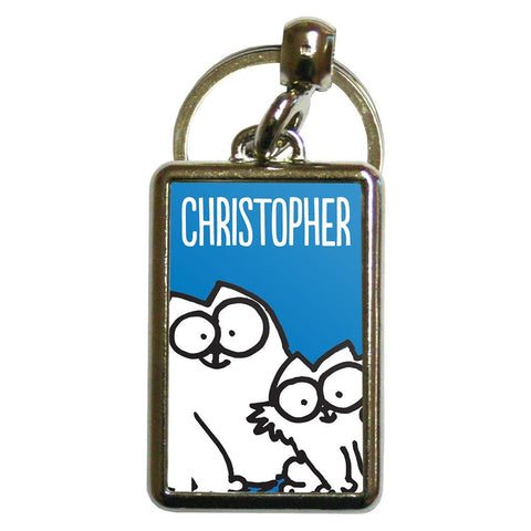 Personalised Blue Metal Keyring - Simon's Cat Shop