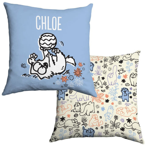 Personalised Play Time Blue Cushion - Simon's Cat Shop