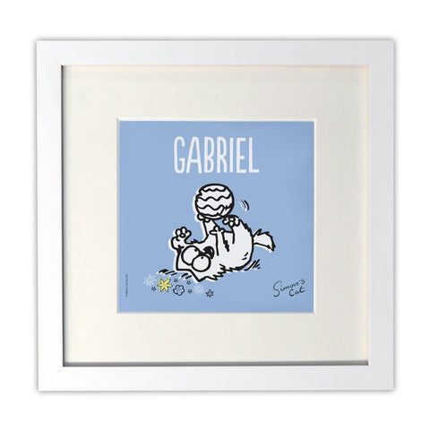 Personalised Kitten Play Time White Framed Print - Simon's Cat Shop