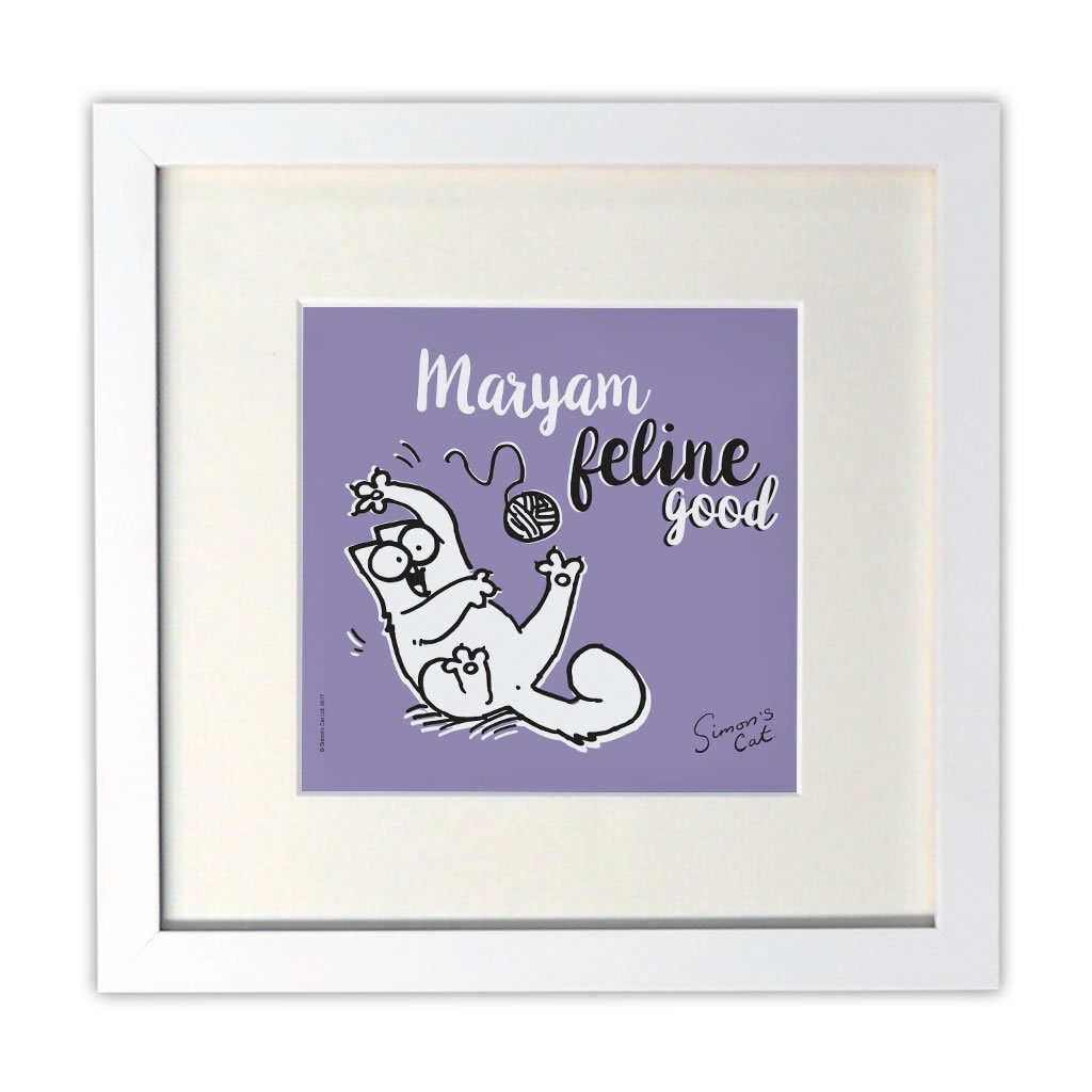 Personalised Feline Good White Framed Print - Simon's Cat Shop