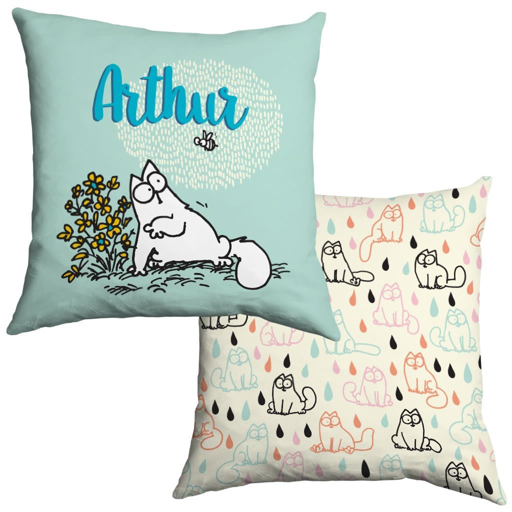 Personalised Turquoise Cushion - Simon's Cat Shop